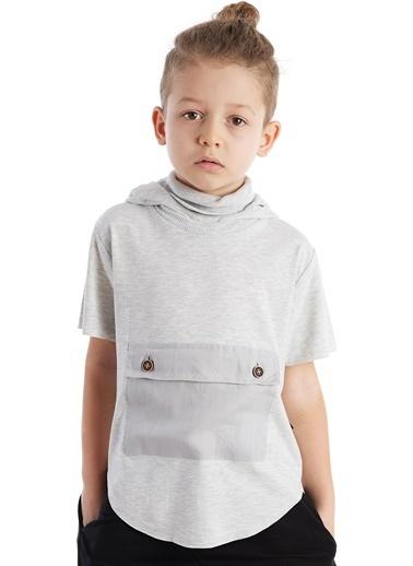 Colorinas Pocket Mask Hoody T-Shirt Beyaz